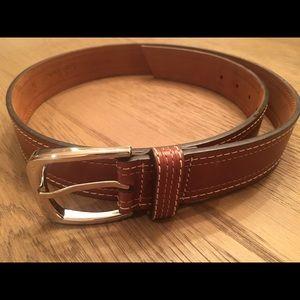 Cole Haan men's double stitch cognac leather belt
